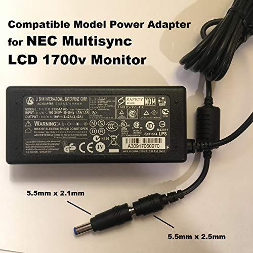 19V-Power-Adapter-for-NEC-Multisync-LCD-1700v-Monitor-65W-342A-55mm-x-21mm-Tip-Also-Compatible-with-LI-Shin-LSE99-B07MP9F66Y
