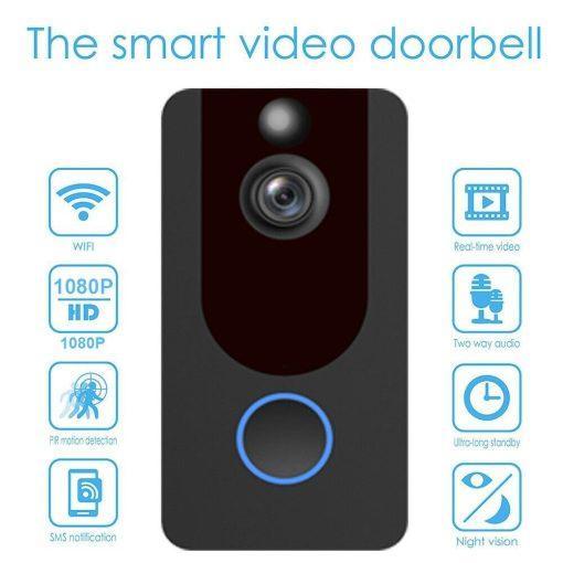 Weather-Proof-Smart-Wireless-All-in-One-Video-Door-Bell-Batteries-Chime-WiFi-193086592587