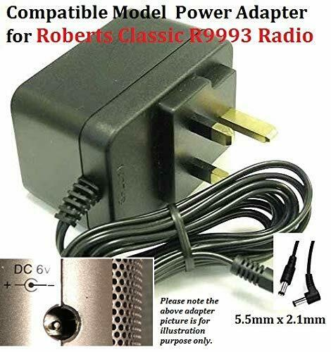 6V-Adapter-for-R9993-ROBERTS-CLASSIC-RADIO-5521-Tip-Centre-Pin-Negative-192901595918