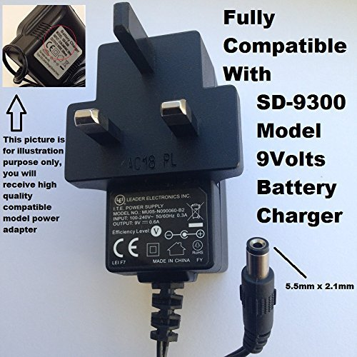LEI-Brand-9V-Battery-Charger-600ma-55mm-x-21mm-Tip-Fully-Compatible-with-9V-300ma-SD-9300-model-dc-adapter-1-Yea-B07DZQST8J
